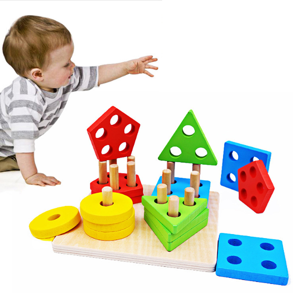 Wooden Geometric Puzzle Toys Montessori Building Stacking Puzzles Kids Intelligence Development Educational Toy Educativos [umu] wooden puzzles toys for kids train creativity imagnation toy children s ability environmental educational wooden toy