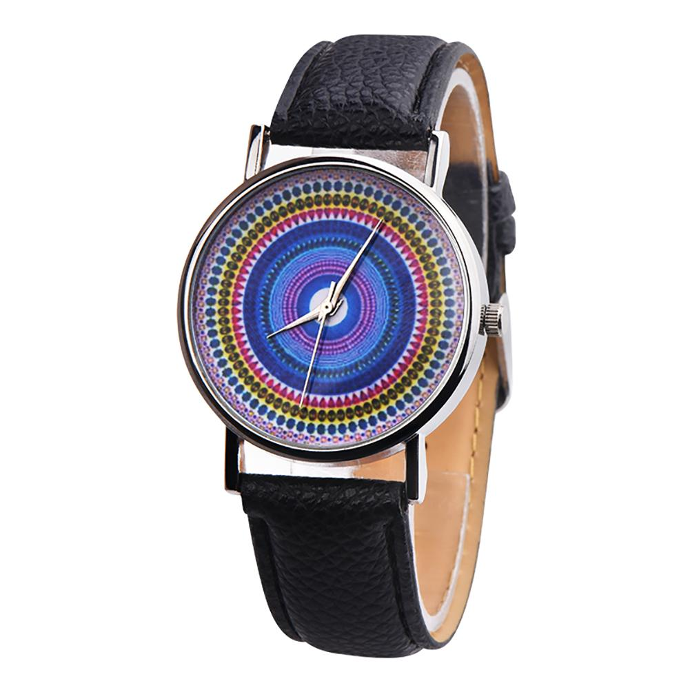 Ethnic Style Faux Leather Band Women Round Quartz Wrist Watch Jewelry Gift montre femme