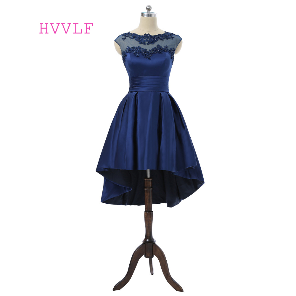 Navy Blue Homecoming Dresses A-line Cap Sleeves Hi Low Satin Lace Beaded See Through Elegant Cocktail Dresses