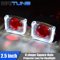 Square U Shape LED DRL Angel Demon Eyes With 8.0 WST H1 HID Bi xenon Projector Lenses Accessory For H4 H7 Cars Headlight Tuning