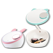 1pc 1600mA LED Makeup Mirror With Light, Cute Cat Designs, Round Triple Magnets Magnifying Mirrors, Cosmetic Storage Box A186