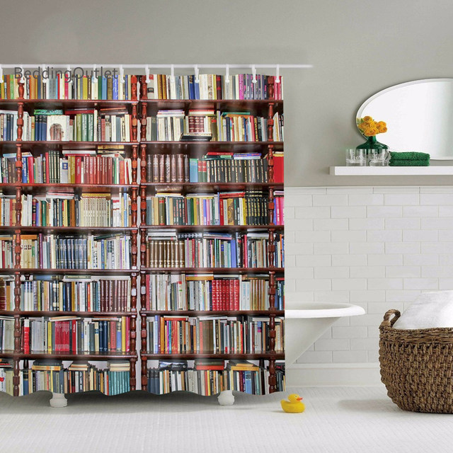 Library Bookshelves Antique Books Illustrations Shower Curtain Waterproof  Water Repellent Bathroom Set With Hooks