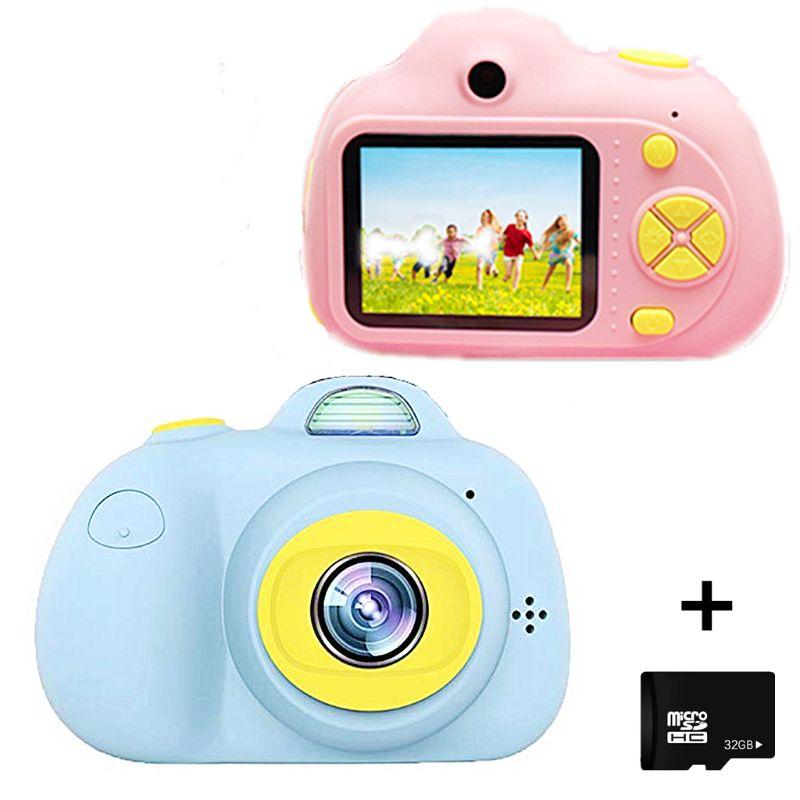 Enfants caméra jouets cadeaux pour antichoc enfant en bas âge appareil photo et caméscope avec coque en Silicone souple pour le jeu en plein air