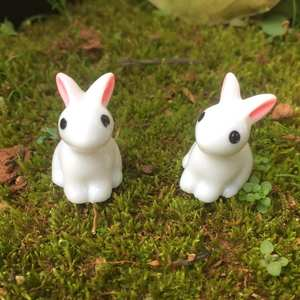 Model Figurine Garden-Decor Resin Hand-Painted Miniature Rabbit-Ornament Animal 1PC Fairy