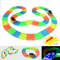 165 220 240 360pcs Magic Car Race Track Bend Flex Glowing In The Dark Assembly Toy