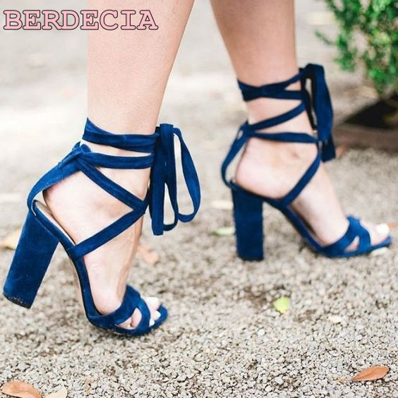 Women loved lace up chunky heel sandals cross strap dress shoes ankle strap fastening party sandal shoes blue suede leather shoe stylesowner elegant lady pumps sandal shoe sheepskin leather diamond buckle ankle strap summer women sandal shoe