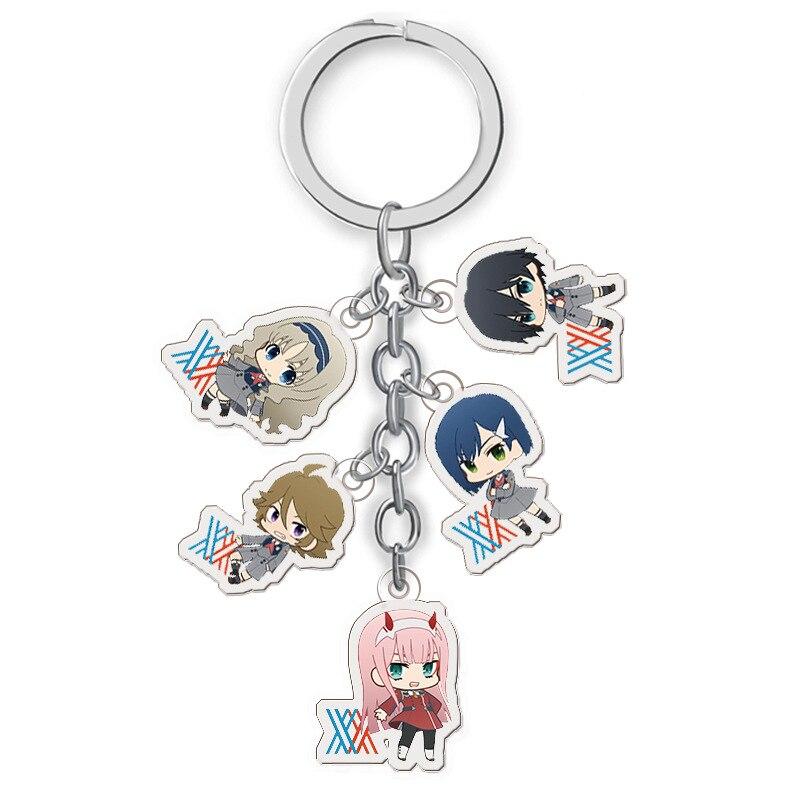 5 In 1 Anime DARLING In The FRANXX Keychain Japanese Cartoon Acrylic Zero Two Otaku Car Key Holder Chain Pendant Keyring Jewelry