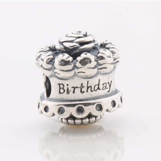 925 Sterling Silver Jewelry Bead Birthday Cake Charm Beads Fit