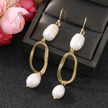 Badu Irregular Freshwater Pearl Long Earring OL Style Vintage Frosted Gold Coin Dangle Earrings Women Fashion Jewelry Gift