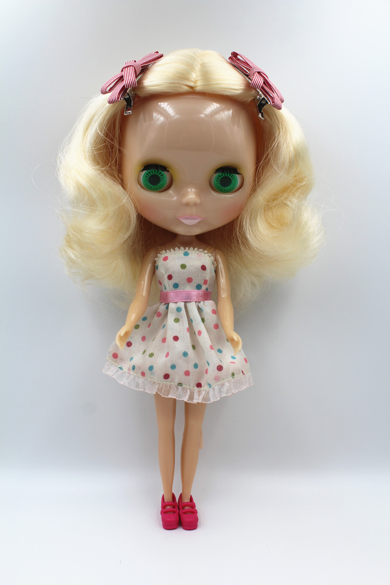 Blyth doll,Light blond curls, short hair, transparent skin, nude dolls,7 joint body,DIY dolls, normal body, can change hair.