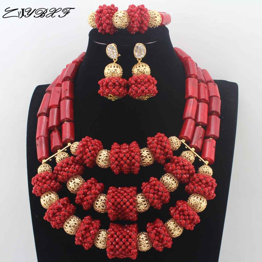 ZJYBXF Original Red Coral Beads Nigerian Wedding African Coral Jewelry Sets Bold Statement Necklace Set Chunky Free Ship L0077ZJYBXF Original Red Coral Beads Nigerian Wedding African Coral Jewelry Sets Bold Statement Necklace Set Chunky Free Ship L0077