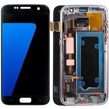 الأصلي S7 شاشات LCD لسامسونج غالاكسي S7 LCD إطار الشاشة سوبر AMOLED عرض لسامسونج S7 G930F LCD محول الأرقام بشاشة تعمل بلمس