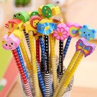 50ピース/ロットカワイイhb鉛筆かわいい漫画動物木製鉛筆消しゴム文房具用オフィスキッズギフト卸売鉛筆
