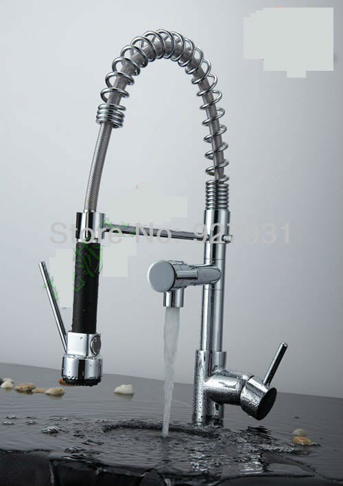 Pull Out Chrome Kitchen font b Faucet b font Water Power Single Handle Swivel Kitchen Sink