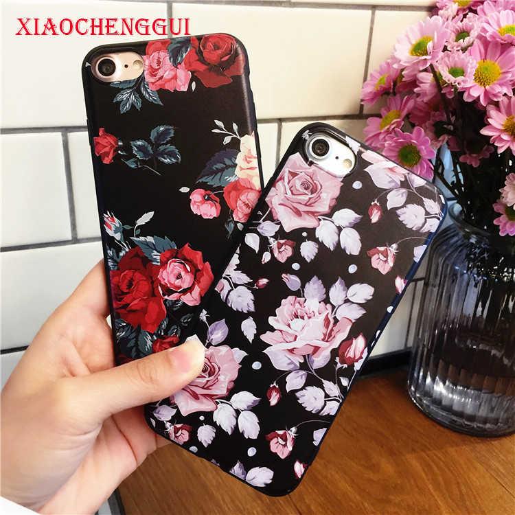 Merah Putih Bunga Mawar Silikon Full Body Case untuk iPhone X XS Max XR 8 7 6 6 S PLUS 5 5 S Case Lembut Kasus Cover Capa Tritone