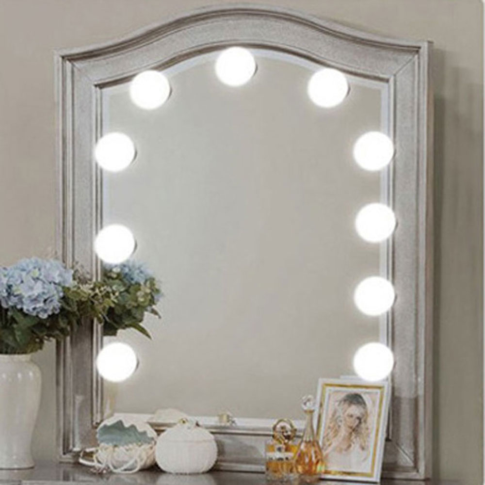 Makeup mirror light bulb string 10 lights LED white usb Sticking on the mirror DIY decor lamp bar bedroom 2019 in LED Night Lights from Lights Lighting