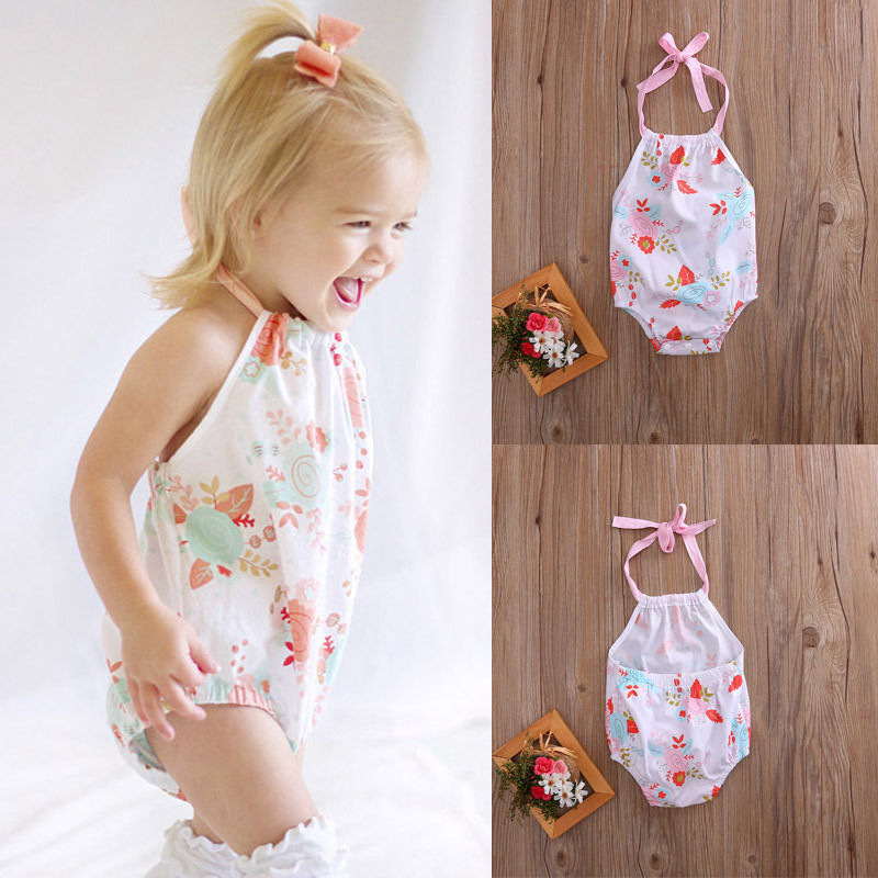 Floral Toddler Baby Girl Romper Jumpsuit Outfits Summer Sunsuit bodysuit Clothes