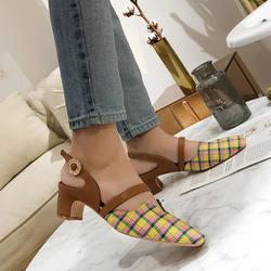 Женские босоножки на массивном каблуке с пряжкой и ремешком сзади, туфли-лодочки с квадратным носком, повседневные разноцветные шлепанцы