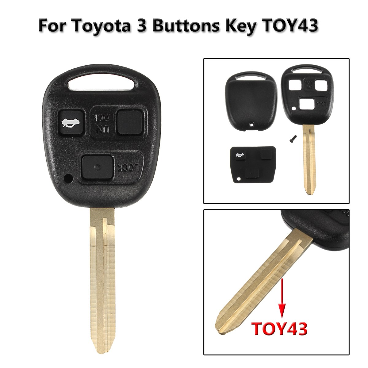3 <font><b>Buttons</b></font> Car <font><b>Remote</b></font> <font><b>Key</b></font> Case Fob Cover <font><b>Key</b></font> Shell For <font><b>Toyota</b></font> <font><b>Avensis</b></font> Corolla Yaris Rav4 image