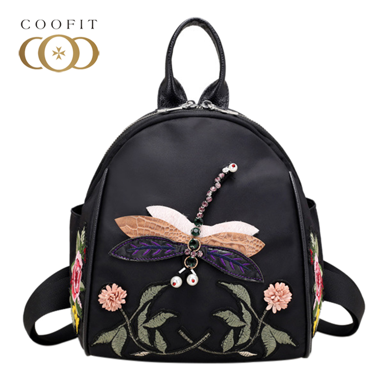 Coofit Chinese Style Flowers Embrodery Mini Backpack Women Female Dragonfly Pattern Oxford Bagpack For Girls Teenagers Beads Bag