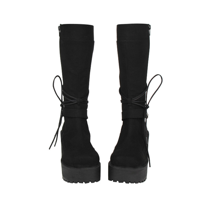 Princess sweet punk shoes Autumn and spring Classic with slope and locomotive boots Zipper punk boots with high boots pu8423 autumn and winter new leather shoes with leather boots and boots with flat boots british classic classic hot wild casual shoes