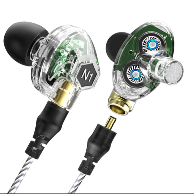 VJJB N1 In-ear Wired Headset Double Dynamic Earphone with Microphone Headphone Auriculares for Computer Phone MP3 Music Player cheaper in ear headset earphone for mp3 player computer mobile telephone wired earphone wholesale