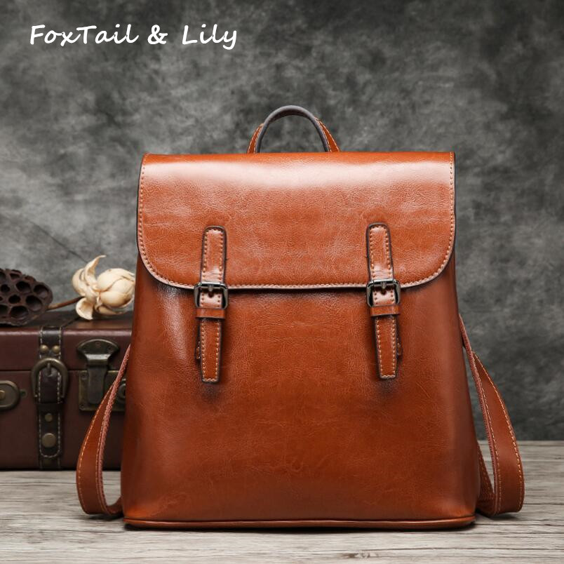 FoxTail & Lily Ladies Genuine Leather Bags Women Backpack Vintage Casual Tote Bag Multifunction Travel Backpacks High QualityFoxTail & Lily Ladies Genuine Leather Bags Women Backpack Vintage Casual Tote Bag Multifunction Travel Backpacks High Quality