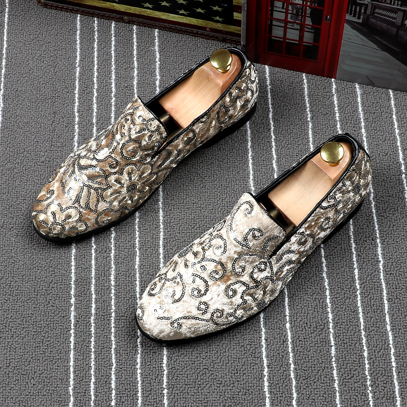 British style men casual wedding party dresses pointed toe genuine leather shoes slip on driving shoe summer embroidery loafers in Men 39 s Casual Shoes from Shoes