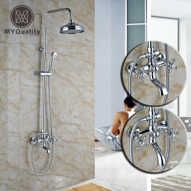 Chrome In Wall Bath & Shower Faucets Dual Handle Brass Rotate Tub Filler Brass Handshower Bathroom Shower Mixer Taps