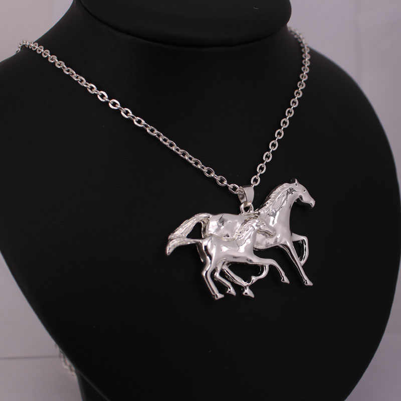 Hzew Madre y niño caballo colgante collar caballo collares