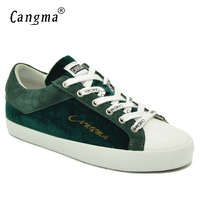CANGMA Luxury Brand Sneakers Women 100% Genuine Leather Female Casual Shoes Womans Lace up Green Shoes Flats Cow Suede Footwear