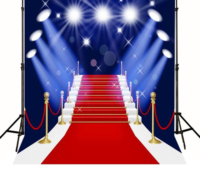 Hollywood Theme Stage Lighting Red Carpet Backdrops Vinyl