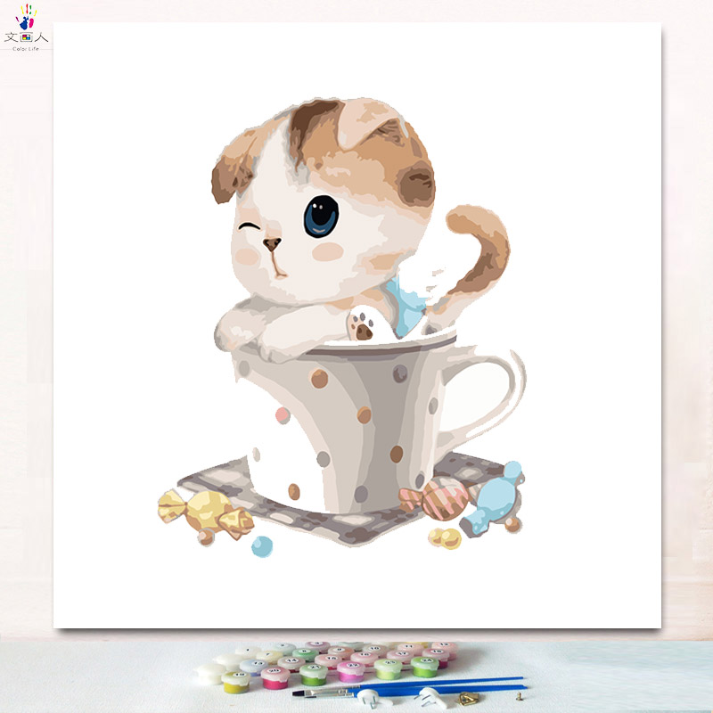 Cut cat in a tea cup painting pictures by number with kits package animals cats canvas coloring numbers in colors for children