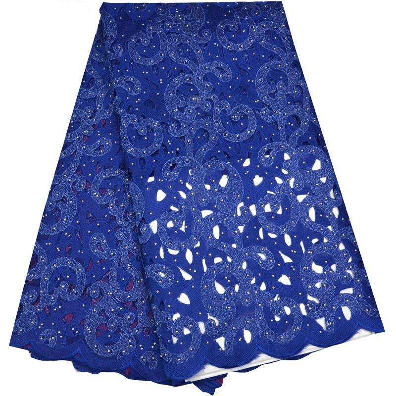 (5yards/pc) hihg quality African cotton lace fabric blue soft Swiss voile lace fabric with hot fixed stones for party dress OP43(5yards/pc) hihg quality African cotton lace fabric blue soft Swiss voile lace fabric with hot fixed stones for party dress OP43