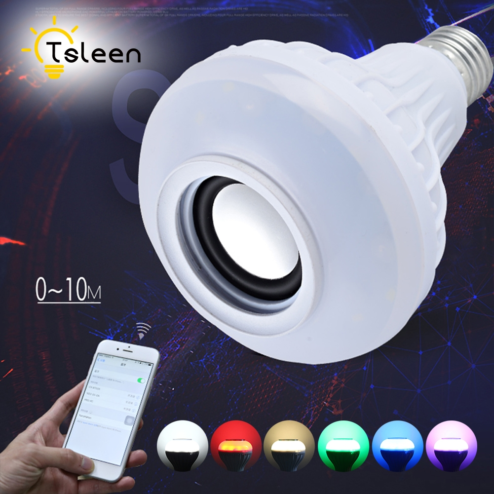 TSLEEN 1PC E27 Dimmable Smart RGB Wireless Bluetooth Speaker Bulb Music Playing 24 Keys Remote Control + E27 LED Lights Socket smuxi e27 led rgb wireless bluetooth speaker music smart light bulb 15w playing lamp remote control decor for ios android