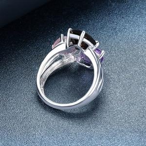 Image 3 - Fantasia feminina de ametista natural, anel de casamento, de quartzo, esfumado, liso, prata esterlina 925, joias elegantes para mulheres