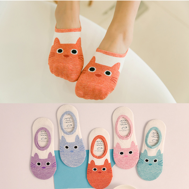 CAT Warm comfortable cotton bamboo fiber girl women's   socks   ankle low female invisible color girl boy hosier drop shipping
