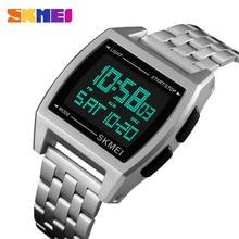 Men Sports Watches Waterproof Stainless Steel Wristwatch Digital LED Watch For Man Clock reloj hombre Erkek Kol Saati SKMEI 2018