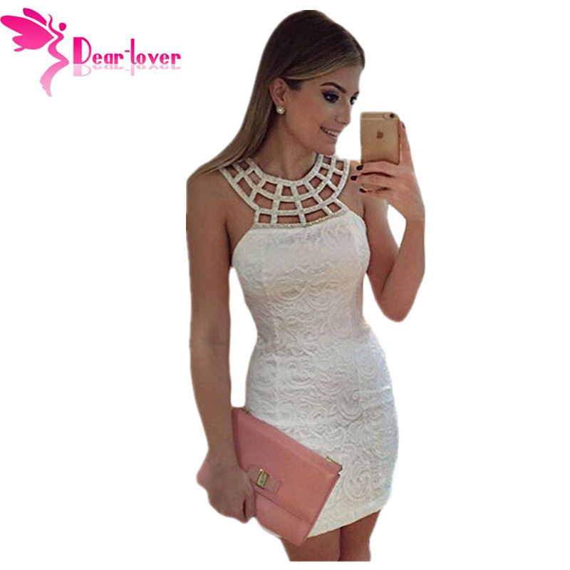 d0c148c78 Dear Lover hot sexy elegant summer dresses 2016 vestido blanco Caged Round  Neck White Lace Club Mini Dress Women Party LC22609-in Dresses from Women s  ...