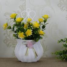 Simple Wall Hanging Flower Basket Home Decoration Simulation Flower Wall Hanging Flower Holders Flowers Storage Rack 05193(China)