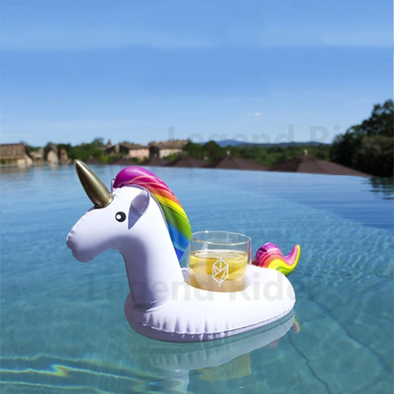 Summer Swimming Pool Floating Inflatable Unicorn Water Drinks Cup Rainbow Horse Beach Mobile phone Cup Care Floating Row