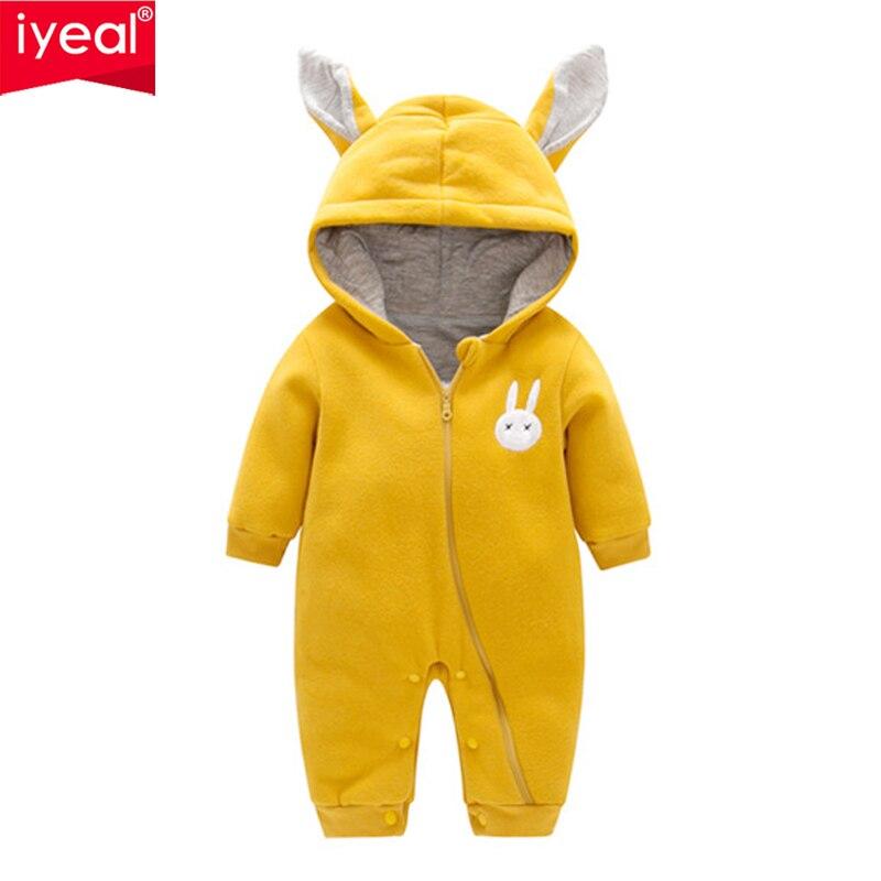 IYEAL New Baby Winter Romper Hooded Cartoon Rabbit Newborn Baby Girl Warm Jumpsuit Autumn Fashion Baby's Wear Kid Climb Clothes