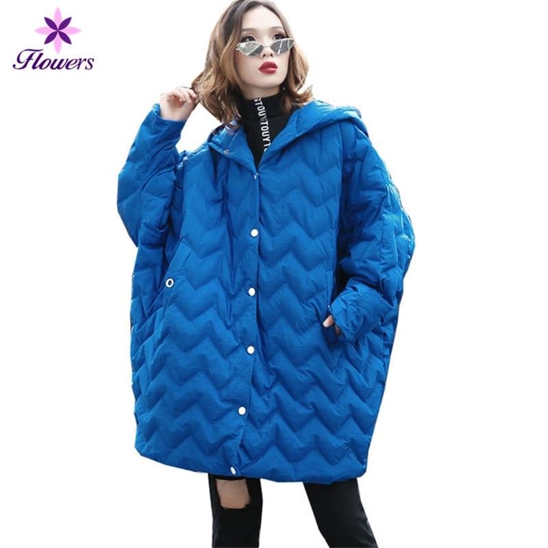Plus Lâche Vêtements Chauve La En Manches Manteau Chaud Taille Lq481 Capuche souris Coton Nouvelle Long Épais blue Black Femmes Parka Veste Pardessus Hiver wOxXn6qAf