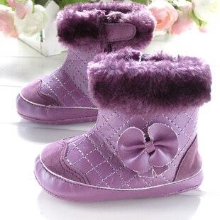 Новое поступление фиолетовый с бантом хлопок ботинки детская обувь дети ботинки малыша туфли снег загрузки