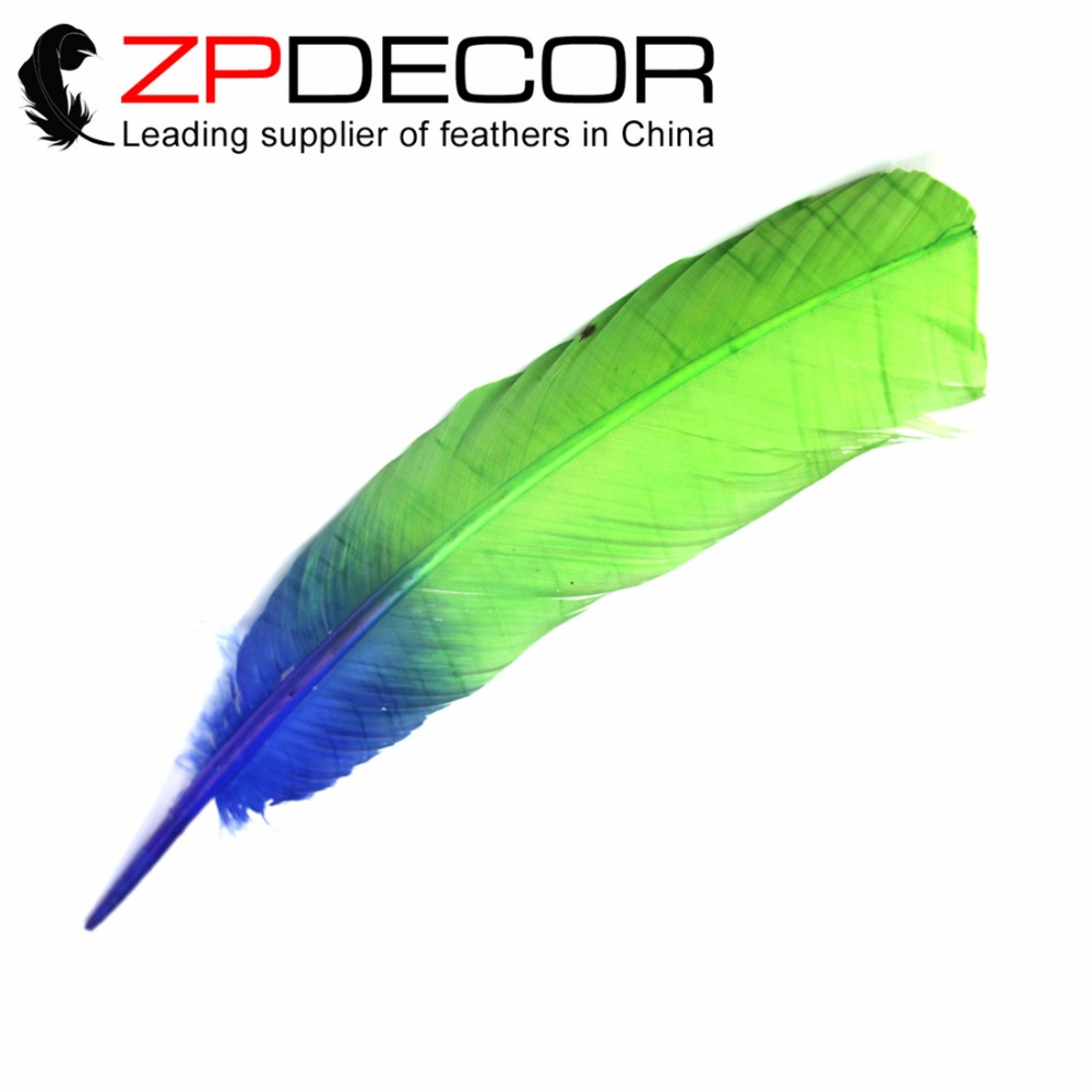 Retail and Wholesale from ZPDECOR 100pieces/lot 12-14inch(30-35cm) Dyed Blue and Purple Ombre Turkey Rounds Wing Quill Feather