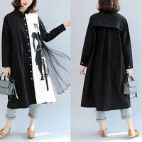 Plus Size Women Clothing Ladies Patchwork Tops Shirts Female Autumn Casual Loose Black White Mesh Blouse Women Long Tunic Blusa