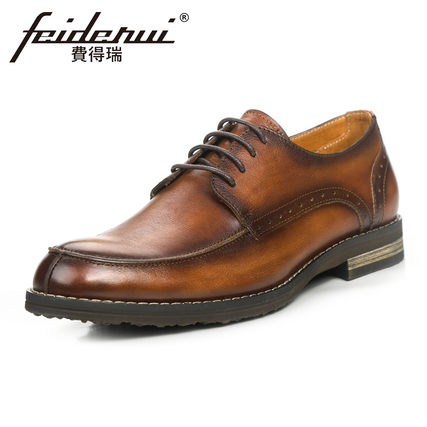 High Quality Genuine Leather Men's Handmade Footwear Round Toe Lace-up Man Derby Flats Vintage Formal Dress Office Shoes KUD78 цена