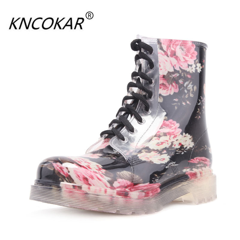 Ms transparent crystal jelly broken beautiful boots Martin rain water flat rubber shoes female shoes flowers purple elegant female boots gaotong water shoes rain shoes rubber shoes rubber rainboots
