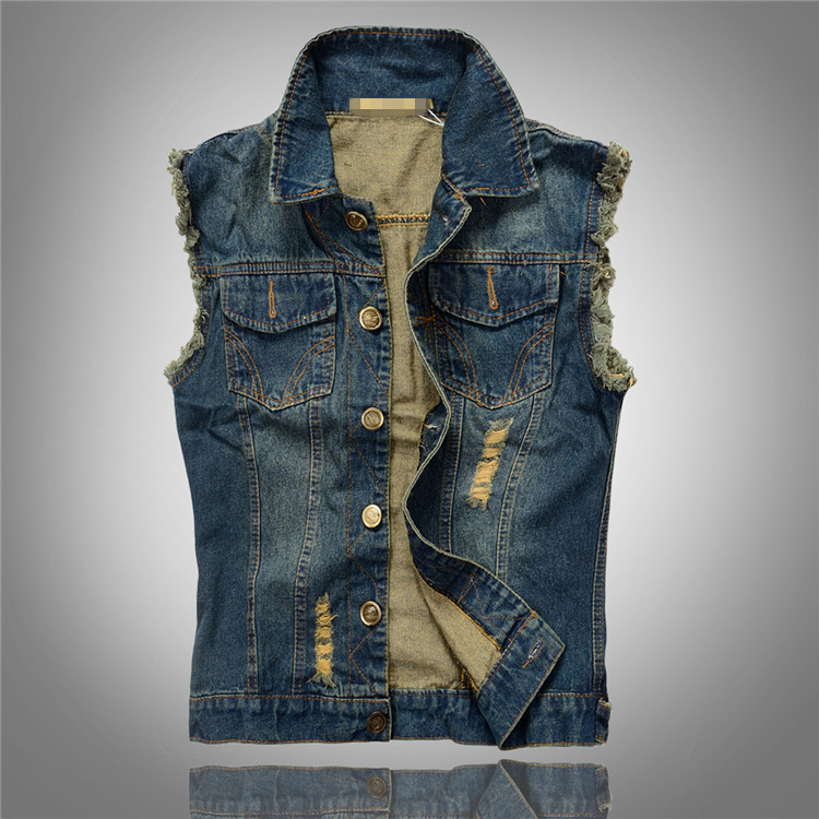 Fashion Mens Motorcycle Jean Vest Dark Blue Ripped Destroyed ...