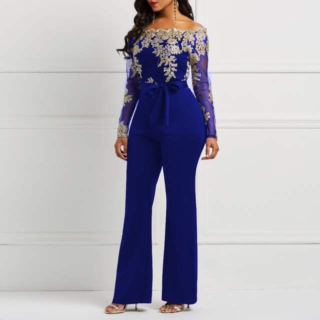 8be2d1c0e placeholder Clocolor Mulheres Jumpsuit Rendas Retalhos de Malha Transparente  de Luxo Fora Do Ombro Outono Inverno de